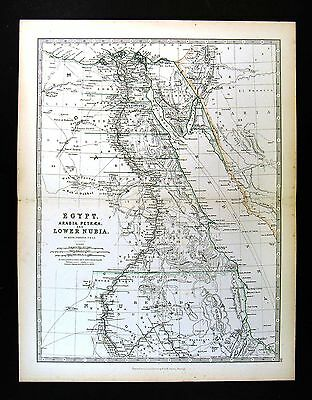 1883 Johnston Map - Upper Nubia & Abyssinia - Lake Tsana Africa Ethiopia Somalia