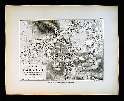 1855 Johnston Military Map  Napoleon - Siege of Badajos by Wellington - Spain