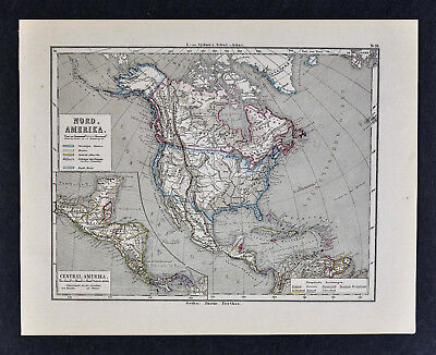 1880 Sydow Map North America United States Canada Mexico West Indies Alaska