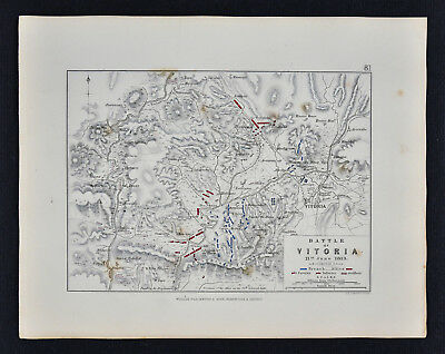 1855 Johnston Military Map Napoleon Battle of Vitoria 1813 Spain Peninsular War