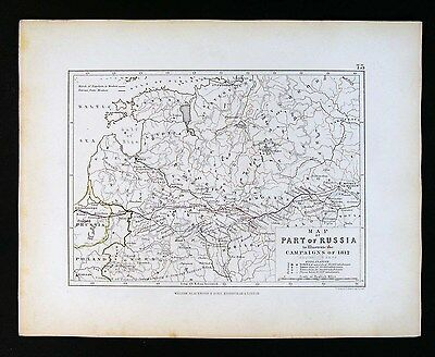 1855 Johnston Military Map Napoleon Russia Campaigns 1812 Moscow Route Battles