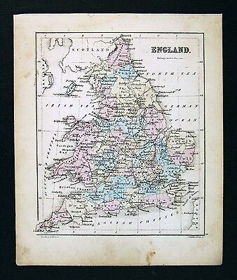 c 1858 Atlas Map - England Wales - London Bristol Liverpool Oxford - Britain UK