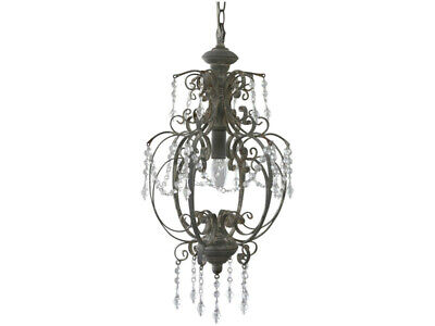 French Shabby Vintage Chic Grey Chandelier Pendant Ceiling Light 52 x 31 cm 60W