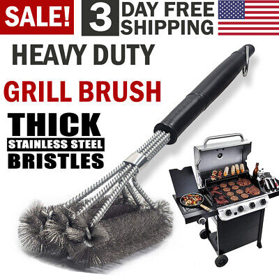 BBQ Grill Brush Scrubber Stainless Steel Barbecue Cleaning Tool Wire Cleaner NEW