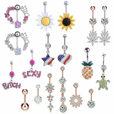 Belly Bar Surgical Steel Crystal Gem Navel Button Ring Body Piercing Drop UK