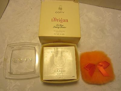 Vintage 1969 L'Origan Coty DUSTING POWDER PUFF 8 Oz box NIB Deluxe Unused