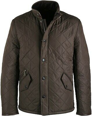 Barbour Men's Olive Powell Quilt Full Zip Jacket