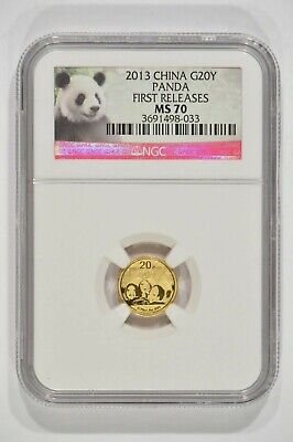 2013 China 1/20th oz Fine Gold Panda 20 Yuan G20Y NGC MS70 3691498-033