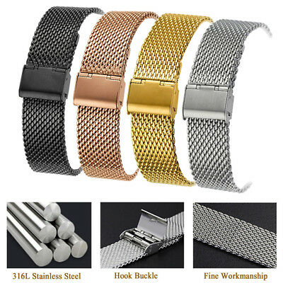 Stainless Steel Milanese Mesh Watch Band Link Bracelet Wrist Strap 18/20/22/24mm