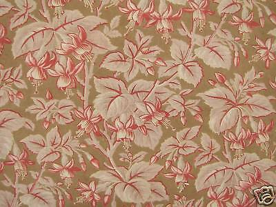 French fabric ~ lovely muted tones Antique c1880 cotton textile hand printed