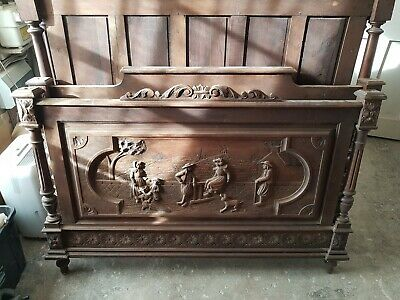 A Beautifully Hand Carved Oak Breton Marriage Double Bed (Bed 1 of 2)