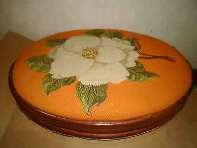 Large Vintage Mahogany Oval Footrest  With Floral Tapestry Top