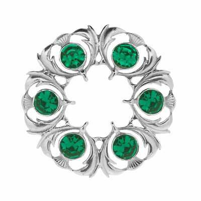 Art Pewter Thistle Dancers Plaid Brooch with Green Stone 250 (GRN)