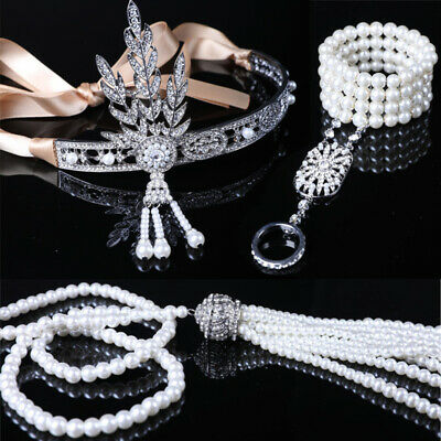 Gatsby 1920's Flapper Crystal Pearl Headpiece Headband Bracelet Ring Necklace UK