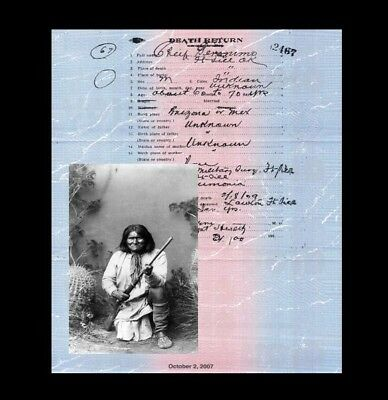 Geronimo DEATH CERTIFICATE + PHOTO, Apache Chief Leader NATIVE AMERICAN