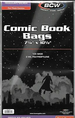 (300) Bcw Thick Silver Age Comic Book Size Bags / Covers