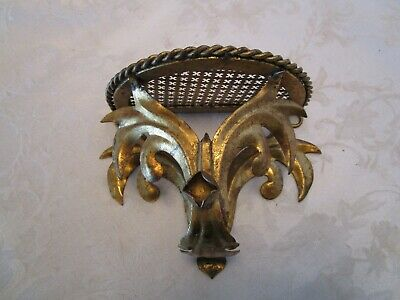 "Hollywood Regency ITALIAN GILDED TOLE  METAL WALL SHELF 6 7/8"" W vintage"