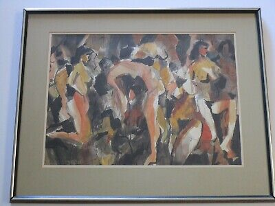 Large Jack Laycox  Painting American Expressionist Modernist Abstract 1970 Nudes