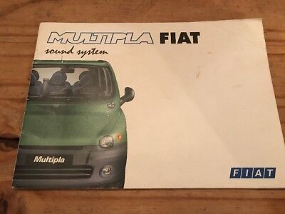GENUINE FIAT MULTIPLA SOUND SYSTEM OWNERS MANUAL Print 2000