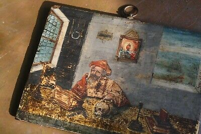 17th Century Continental Oil on Board,St Jerome Memento Mori Curio Antique Icon
