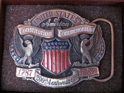 Vintage (1987) United States of America Constitution Brass Belt Buckle in Box