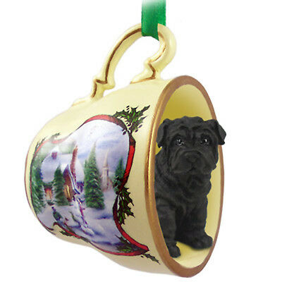 Shar Pei Christmas Teacup Ornament Black