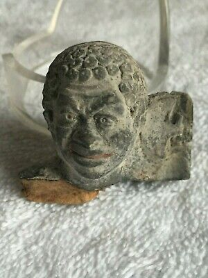 Ancient Molded Terracotta Gray NUBIAN Head Fragment Greco Roman Tanagra c200 BC
