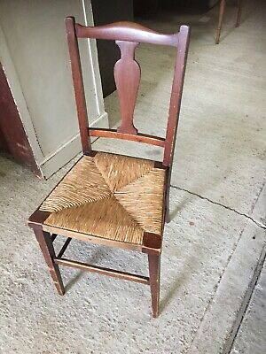 Vintage Antique Rustic Folky Prim Chair Rush Weave Seat 18/3/S