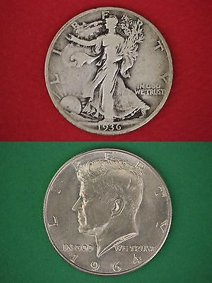 MAKE OFFER $8.00 Face Value Walking Liberty 1964 Kennedy Half Dollars 90% Silver
