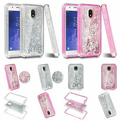 For Samsung Galaxy J7 J737 2018 Dual Layer Flowing Glitter Sparkle Hearts Case