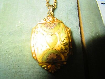 Antique Early Gold Filled Locket Necklace with old photos on Chain