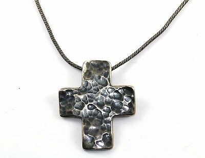 Silpada Hammered Cross Pendant N0732 Necklace 925 Sterling Nc 208