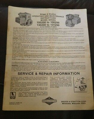 Vtg Briggs Stratton Engine Operating Maintenance Instructions 100200/299 Manual