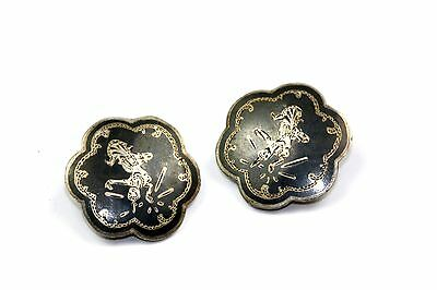 925 Sterling, Vintage Signed Siam Niello Dancer Clips Earrings Er 326