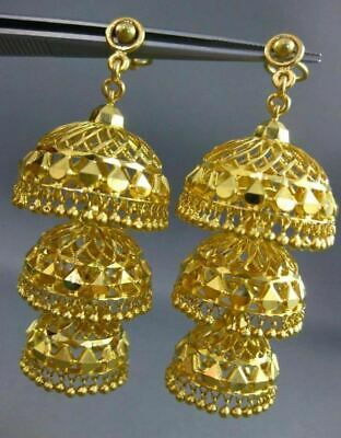 Antique 22Kt Yellow Gold Handcrafted Filigree Chandelier Hanging Earrings #25283