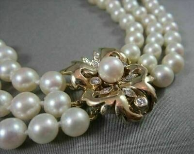 Estate Large 3 Strand Diamond & Aaa South Sea Pearl 14Kt Yellow Gold Necklace