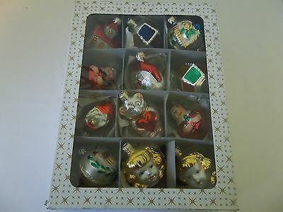 Vintage Box of 12 Sears Victorian Style Glass Ornaments West Germany #2