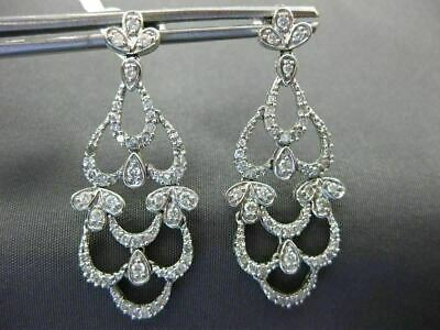 Estate .75Ct Round Diamond 14K White Gold 3D Open Filigree Leaf Hanging Earrings