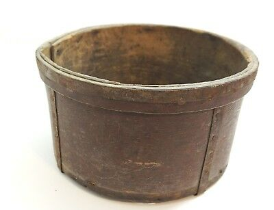 Antique Wood And Metal Strap Firkin Bucket Or Storage Container N5