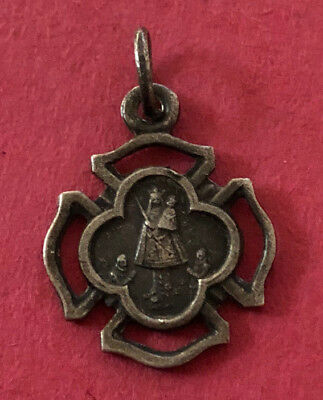 Antique Catholic Religious Medal - PETITE - Our Lady Chevremont / Sacred Heart