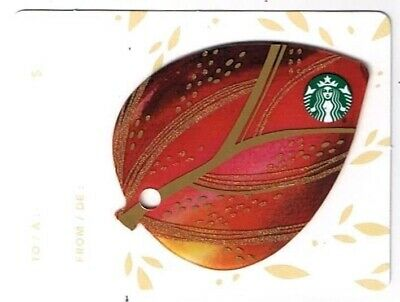 Starbucks 2015 Gift Card Canada Series Mini Leaf Red No Value English French