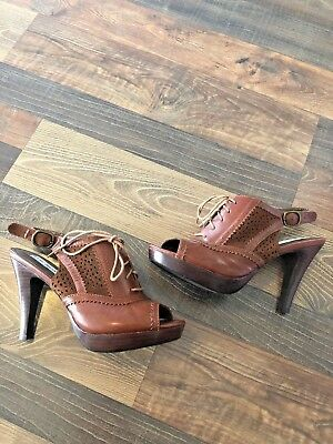 35e15b556ca STEVE MADDEN BROWN Oxford Heels Pumps Size 7.5 M Open Toe Sling Back