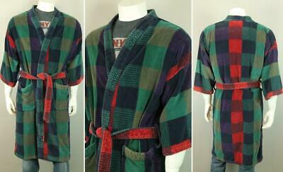 Vtg Men's NORM THOMPSON Terry Cotton Smoking Coat Gown Jacket Lounging Robe OS