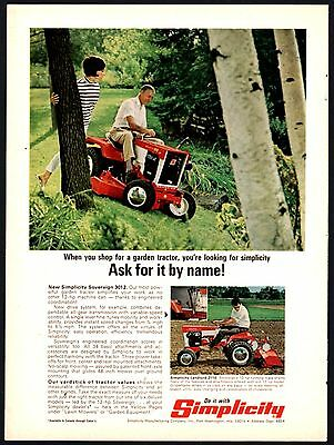 1968 SIMPLICITY SOVEREIGN 3012 Garden Tractor Mower and Landlord 2110 PRINT  AD