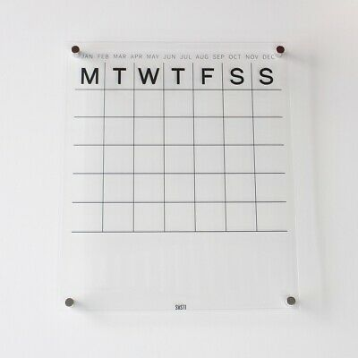 Perpetual Wall Calendar with Note Space Clear Acrylic Medium Silver