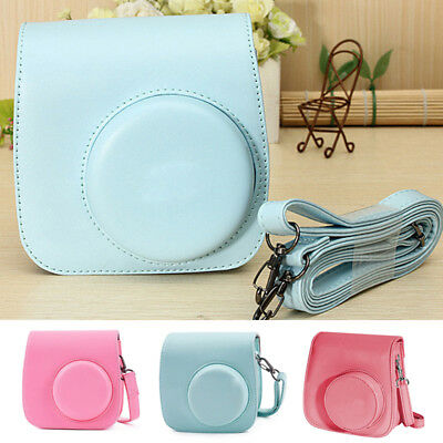 For Fujifilm Instax Mini8 9 Film Instant Camera Bag PU Leather Cover Case W/Belt