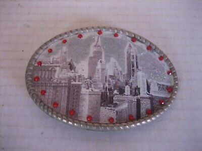 Vintage City Scape Red Rhinestones Silver Metal Belt Buckle Only Pre-Owned