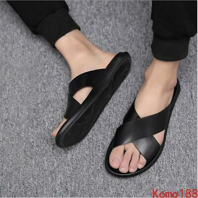 Mens Summer Roman Slip On Cross Strappy outdoor Beach Casual Sandals Shoes