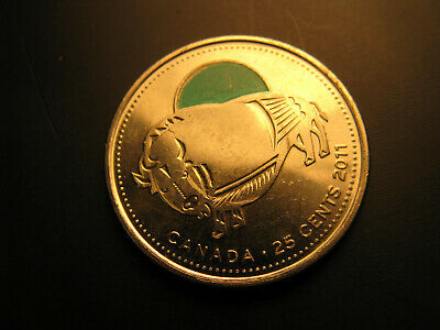Canada 2011 Wild Life Preservation Coloured Bison 25 Cent  Mint Coin.