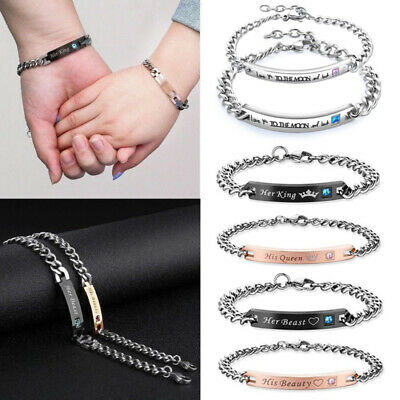 His & Her Lovers Stainless Steel  Mens Womens Couples Chain Cuff Bangle Bracelet